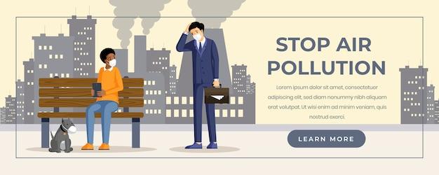 Szablon kolorów płaski transparent zanieczyszczenia powietrza. smog przemysłowy, emisje toksyczne negatywny wpływ na zdrowie. ludzie oddychający postaciami z kreskówki dymu, kurzu i gazu