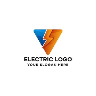 Szablon kolorowe logo gradientu elektrycznego