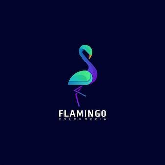Szablon kolorowe logo gradientu flaminga