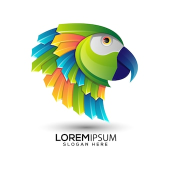 Szablon kolorowe logo gradientu papugi