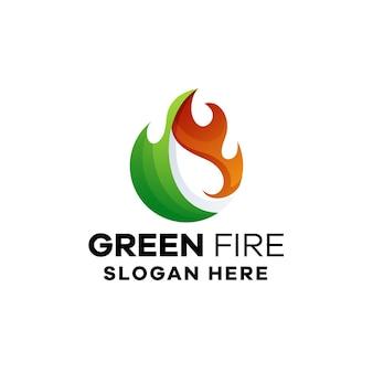 Szablon kolorowe logo gradientu zielonego ognia
