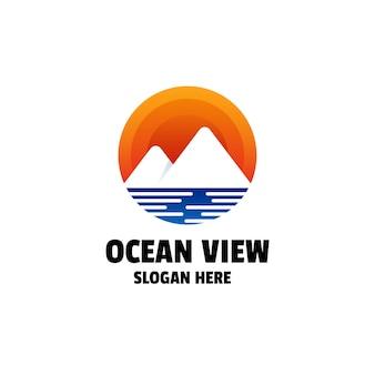 Szablon kolorowe logo z widokiem na ocean