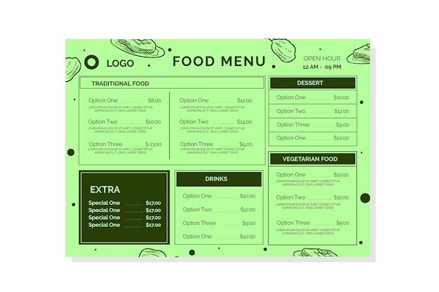 Szablon kolorowe menu restauracji