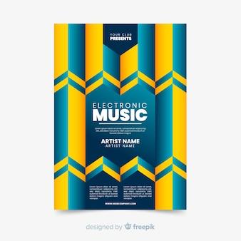 Szablon kolorowy geometrycznej muzyki plakat