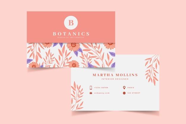 Szablon kolorowy kwiatowy wizytówki