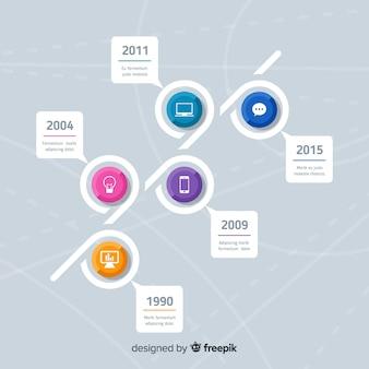 Szablon kolorowy nowoczesny osi czasu infographic