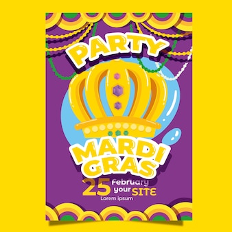 Szablon kolorowy plakat mardi gras