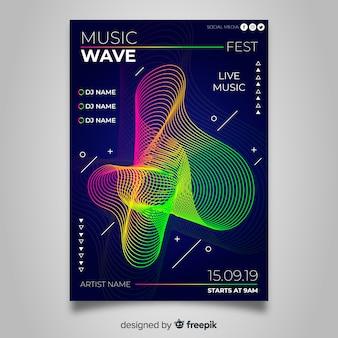 Szablon kolorowy plakat streszczenie muzyki