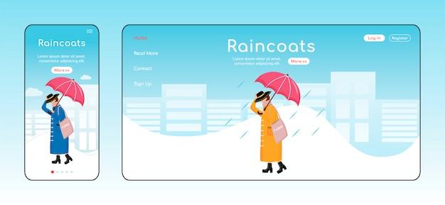 Szablon koloru strony docelowej płaszcze przeciwdeszczowe. wyświetlacz mobilny. układ strony głównej rainywear. modna kobieta interfejs strony jednej strony, postać z kreskówki. baner internetowy deszczowy dzień, strona internetowa