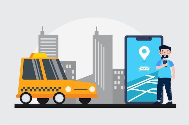 Szablon koncepcji aplikacji taxi