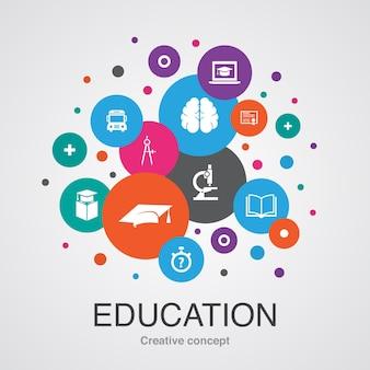 Szablon koncepcji edukacji. nowoczesny styl. zawiera takie ikony jak ukończenie szkoły, mikroskop, quiz, autobus szkolny