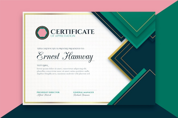 Szablon koncepcji elegancki certyfikat
