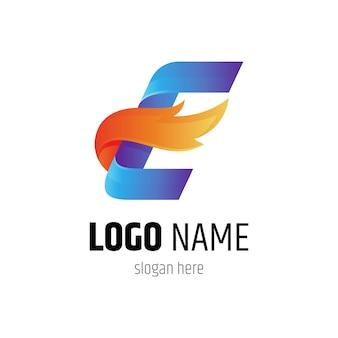 Szablon koncepcji kreatywnych logo ognia litera e w stylu gradientu koloru