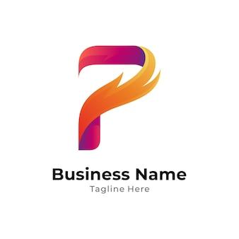 Szablon koncepcji logo ognia i litery p z kolorem gradientu