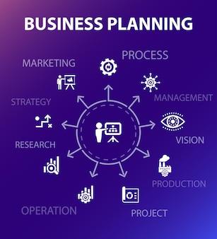 Szablon koncepcji planowania biznesowego. nowoczesny styl. zawiera takie ikony jak zarządzanie, projekt, badania, strategia