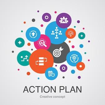 Szablon koncepcji planu działania. nowoczesny styl. zawiera takie ikony jak doskonalenie, strategia, wdrożenie, analiza