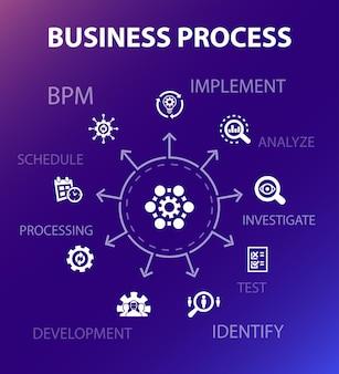 Szablon koncepcji procesu biznesowego. nowoczesny styl. zawiera takie ikony jak wdrożenie, analiza, rozwój, przetwarzanie