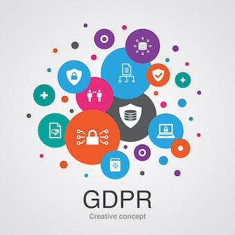 Szablon koncepcji rodo. nowoczesny styl. zawiera ikony takie jak dane, e-prywatność, umowa, ochrona