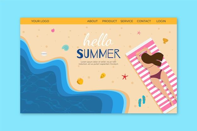 Szablon koncepcji strony docelowej witaj lato