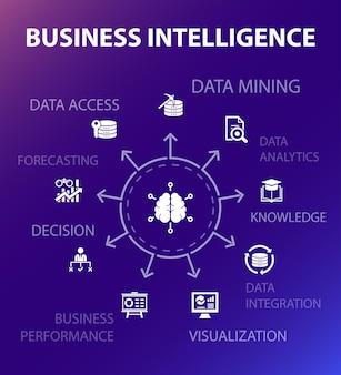 Szablon koncepcji wywiadu biznesowego. nowoczesny styl. zawiera takie ikony jak data mining, wiedza, wizualizacja, decyzja