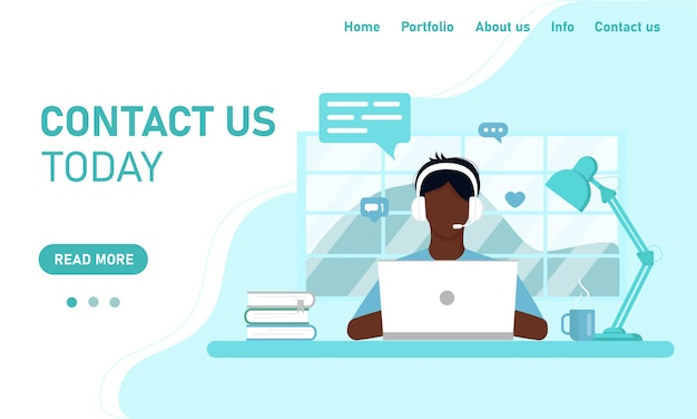 Szablon koncepcyjny obsługi klienta na stronie internetowej i baneru. facet, afrykański operator przy laptopie, pracuje w domu, na szkoleniu online. płaski styl, design