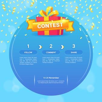 Szablon konkursu na media społecznościowe z pudełkiem prezentowym