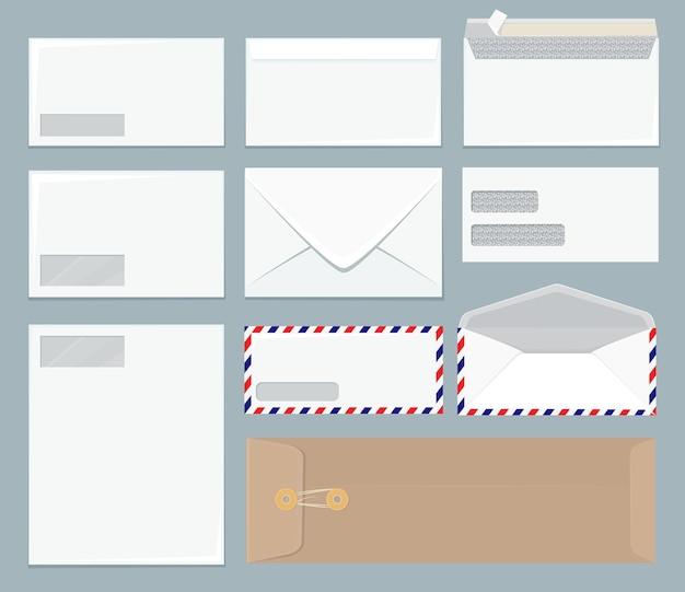 Szablon koperty. biuro z bliska pusta makieta realistyczna biznesowa koperta papierowa.