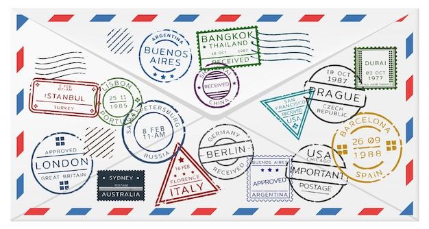 Szablon koperty pocztowej retro