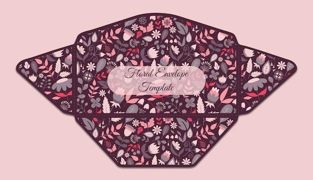 Szablon koperty z kwiatowym wzorem