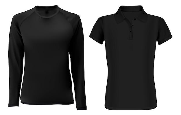 Szablon koszulki. czarna odzież blank przód