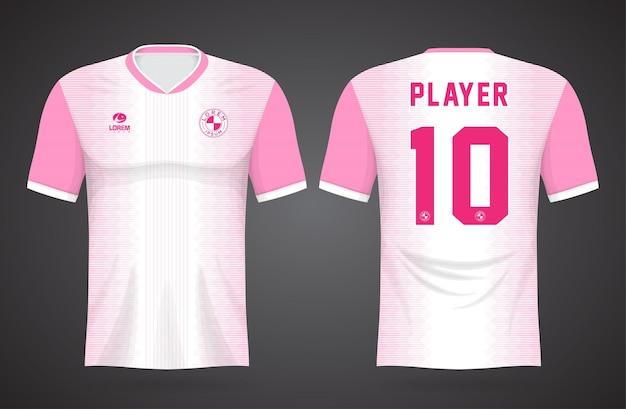 Szablon koszulki sportowej w kolorze białym i różowym do strojów drużynowych i projektu koszulki piłkarskiej
