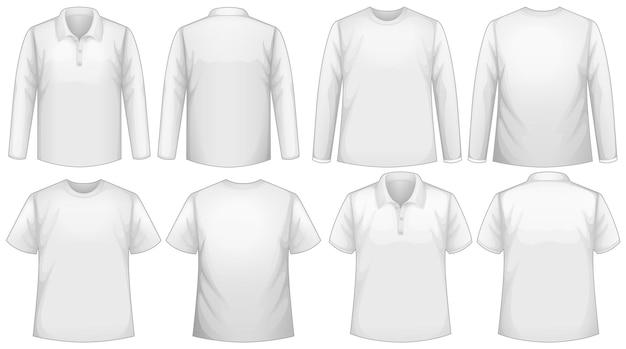 Szablon koszulki z długim i krótkim rękawem