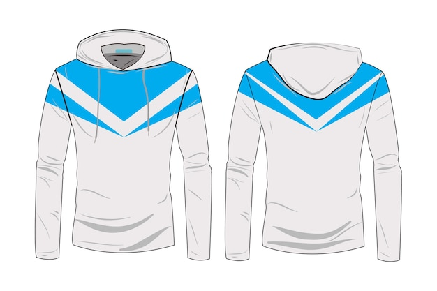Szablon koszulki z kapturem. sportowa kurtka z kapturem z długim rękawem. kurtka zimowa dla kobiet i mężczyzn. modna bluza z kapturem technicznym szkicu z widokiem z przodu iz tyłu track.