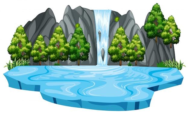 Szablon krajobrazu na wodospad na białym tle