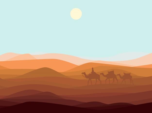 Szablon krajobrazu pustyni piasku