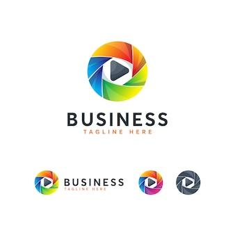 Szablon kreatywnego logo nowoczesnego odtwarzacza multimedialnego