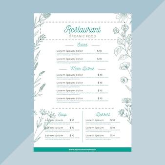 Szablon kreatywnego menu restauracji