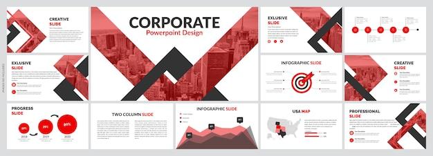 Szablon kreatywnych czerwonych slajdów