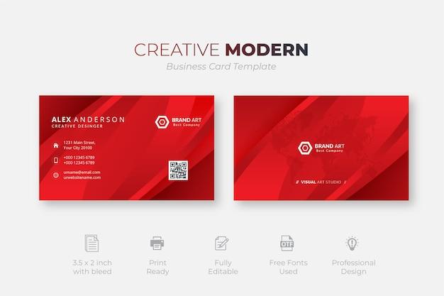 Szablon kreatywnych czerwonych wizytówek