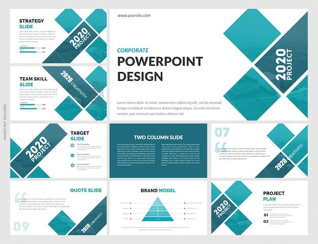 Szablon kreatywnych slajdów niebieski