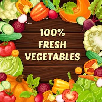 Szablon kreskówka ekologicznej żywności naturalnej