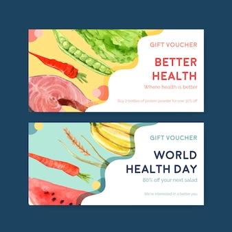 Szablon kuponu na światowy dzień zdrowia w stylu przypominającym akwarele