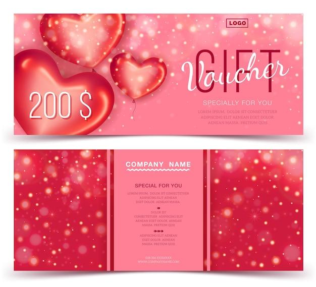 Szablon kuponu prezentowego z czerwonymi sercami 200