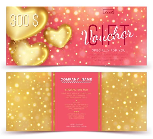 Szablon kuponu prezentowego ze złotymi sercami 300