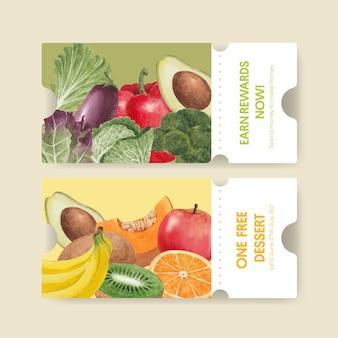 Szablon kuponu z koncepcją zdrowej żywności, styl akwareli