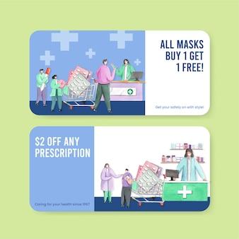 Szablon kuponu ze światowym dniem farmaceutów w stylu akwareli