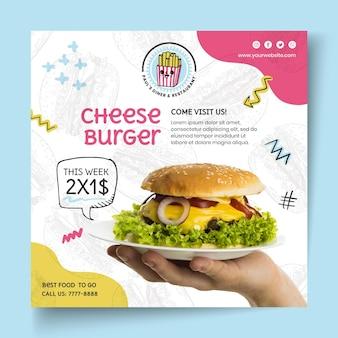 Szablon kwadratowej ulotki cheeseburgera amerykańskiego jedzenia