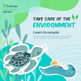 Szablon kwadratowy ulotki środowiska