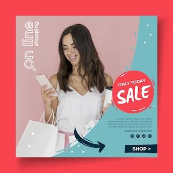 Szablon kwadratowy ulotki zakupów online