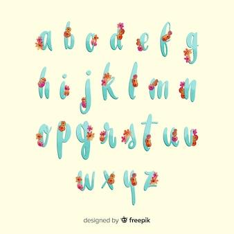Szablon kwiatowy alfabet